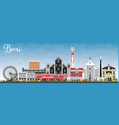 Bari italy city skyline with gray buildings and vector
