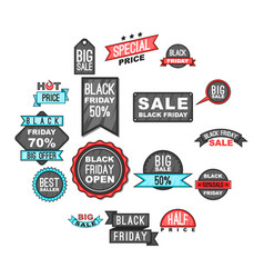 black friday icons set cartoon style vector image vector image