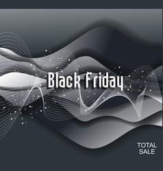 black friday sign design with wavy layers vector image