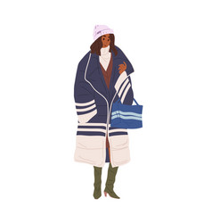 black skin woman demonstrate stylish outerwear vector image