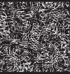 Black white seamless pattern with abstract doodles vector