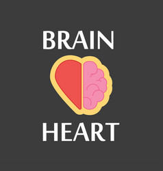 brain and heart logo on a black colored vector image