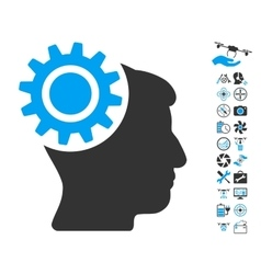 Brain Gear Icon With Copter Tools Bonus vector