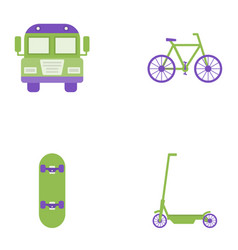 Bus bicycle skate and scooter flat icons vector
