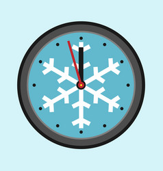 Christmas clock with snowflake vector