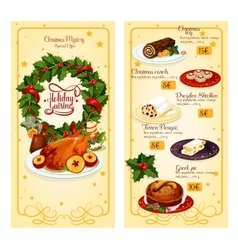 Christmas restaurant menu template design vector image