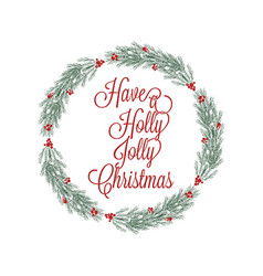 Christmas wreath hand drawn for greeting cards vector