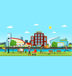 city abstract town with people in park cars on vector image