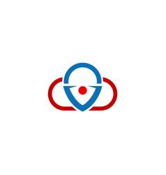 cloud position pin technology logo vector image