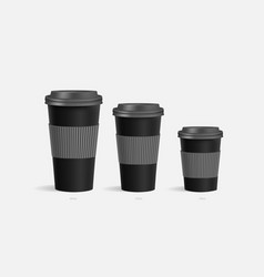 Coffee cups mockup with grey holder background vector