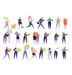 collection creative various lifestyle character vector image