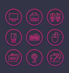 Computer peripherals line icons set vector