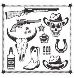 Cowboy and western attributes black objects vector