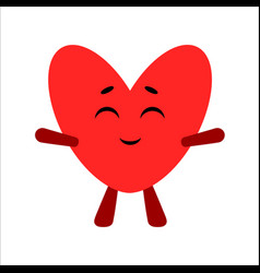 cute heart cartoon happy character white vector image