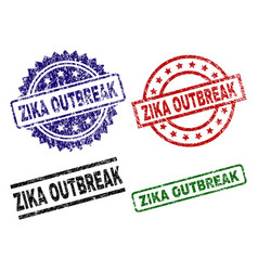 Damaged textured zika outbreak seal stamps vector