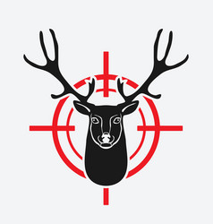 Deer head on red target vector