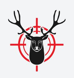 deer head on red target vector image