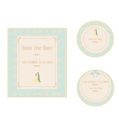 Elegant wedding invitation set vector