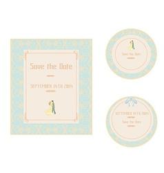 elegant wedding invitation set vector image