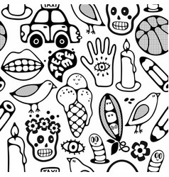 endless pattern with cartoon characters vector image