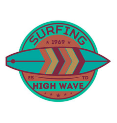 Extreme high wave surfing vintage label vector