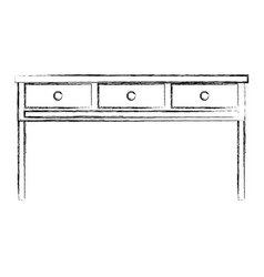 Figure office wood desk object with drawers vector