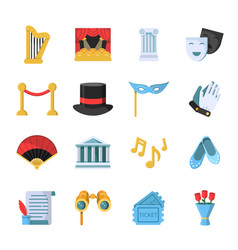 film movie and theatre symbols icon set vector image