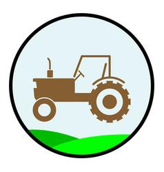 Flat color tractor icon vector