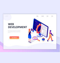 flat design isometric concept web development vector image