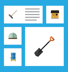 Flat icon farm set of hothouse harrow container vector