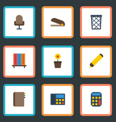 Flat icons trash basket calculate phone and vector