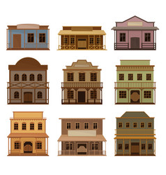flat set of wooden western houses old vector image
