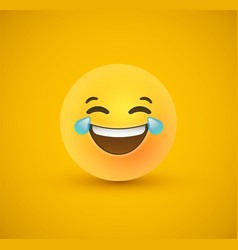 Funny laugh yellow emoticon face 3d background vector
