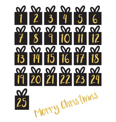 Gift box set with gold foil numbers set vector