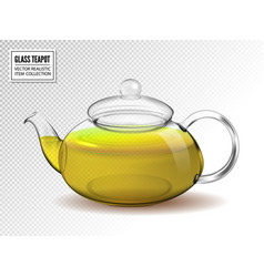 glass teapot with green tea isolated on vector image