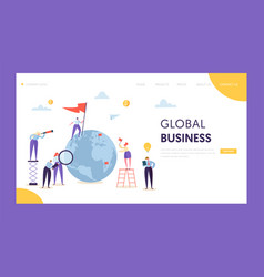 Global business leadership flag landing page vector