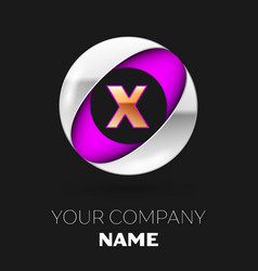 golden letter x logo in the silver-purple circle vector image