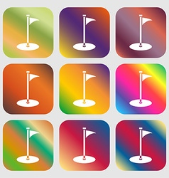 Golf icon Nine buttons with bright gradients for vector