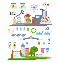 Green city infographic set elements vector