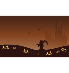 Halloween brown backgrounds warlock and castle vector