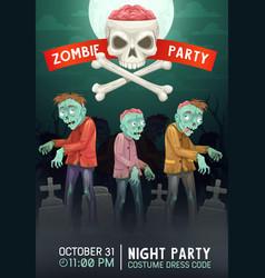 Halloween zombies walking on cemetery invitation vector