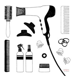 hand drawn set of hair styling hair dryer vector image