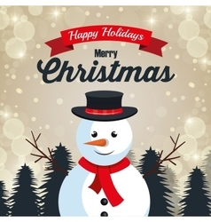happy holiday merry christmas snowman design vector image