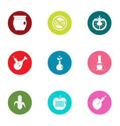 Harmful food icons set flat style vector