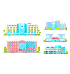 healthcare building medical clinics and hospitals vector image