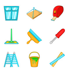 Home construction icons set cartoon style vector