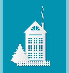 home paper cut icon chimney fence and spruce vector image