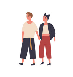 lesbian couple holding hands flat vector image