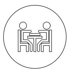 men playing at the table black icon outline in vector image