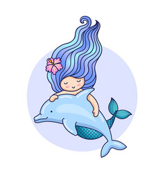 Mermaid with long gradient hair and dolphin vector